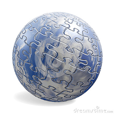 3D puzzle sphere with sky texture