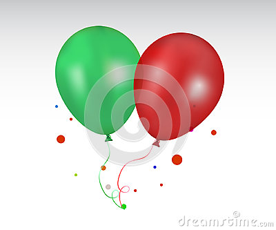 3d Realistic red and green Colorful Balloon Vector Illustration