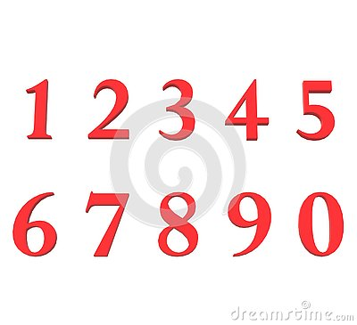 3D red arabic numbers icon on white background. flat style. set of numbers icon for your web site design, logo, app, UI. 3d Stock Photo