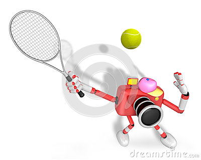3D red Camera character is a powerful tennis game play exercises