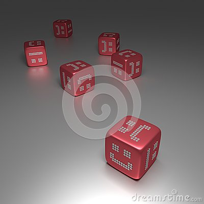 3D Red Dices With Random Smilies