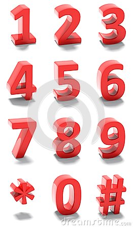 3d red numbers