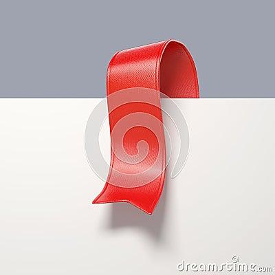 3d red ribbon bookmark tag, design element