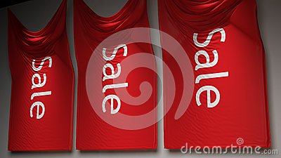3D red sale flags