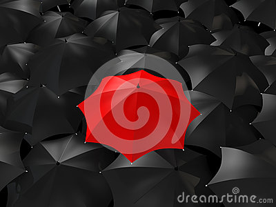 3d red umbrella among black ones Stock Photo