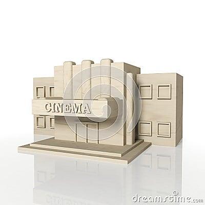 3D rendem da construção do cinema com reflexão