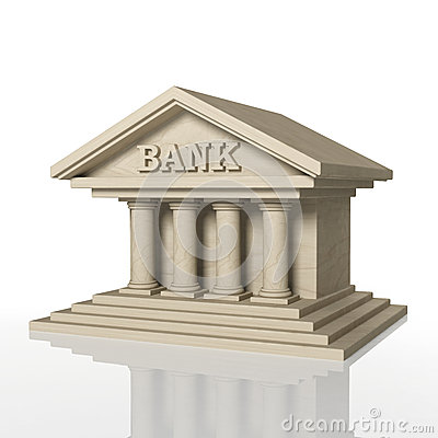 3D render of bank building with reflection