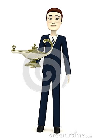 Cartoon businessman with aladdin lamp