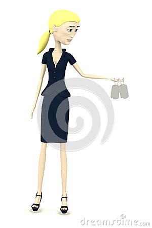 Cartoon businesswoman with dog - tag