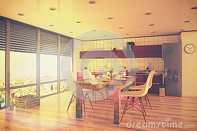 Interior Loft, Kitchen Royalty Free Stock Photography - Image ...