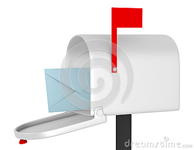 3d Render of an Open Mail Box with an Envelope
