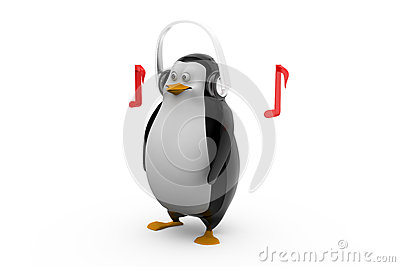 3d render of a penguin in glasses listening to tunes on his headphones