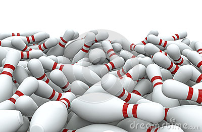 Bowling pins pile