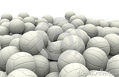 White soccer balls pile