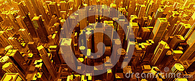 3D render of pure gold city