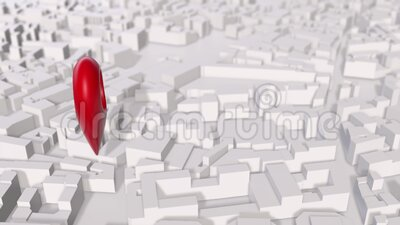3D render of red Geotag pin spin over the white block city map. stock video footage