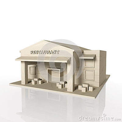3D render of restaurant building with reflection