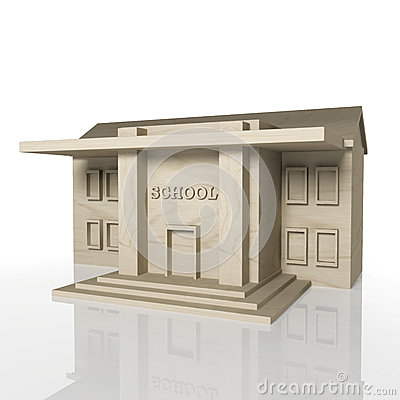 3D render of school building with reflection
