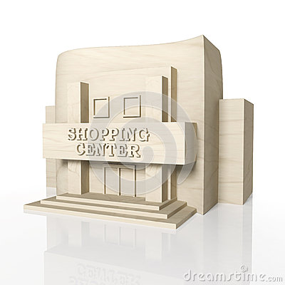 3D render of shopping center building with reflection