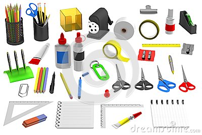 3d render of stationery tools