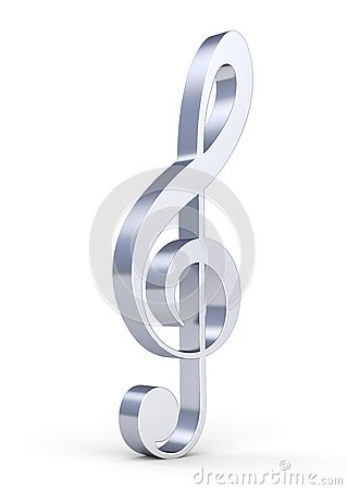 3d metallic treble clef
