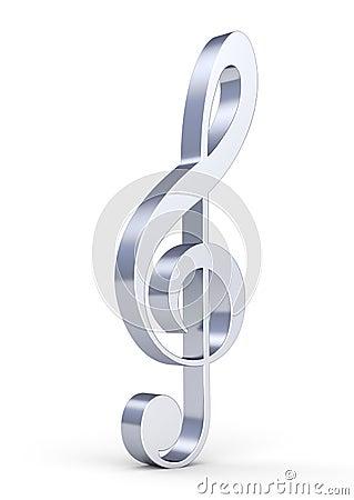 3d metallic treble clef