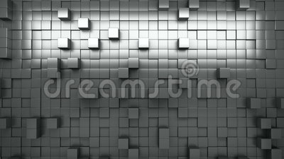 3D rendering. Black and white extruded cubes. Abstract background. Loop. Stock Photo