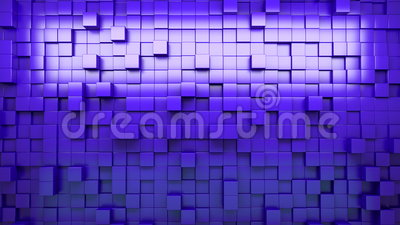 3D rendering. Blue extruded cubes. Abstract background. Loop. Stock Photo