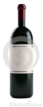 3d Bottle of wine isolated