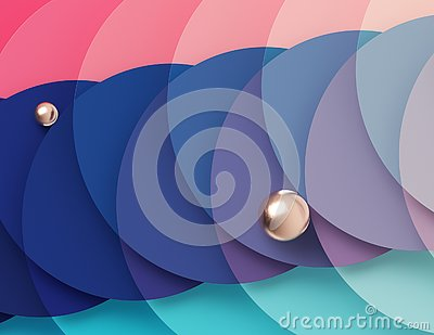 Bright multicolored geometric background formed by the intersection of pink and turquoise circles Stock Photo