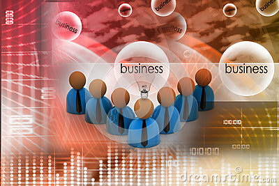 3d rendering business man icon with bulb