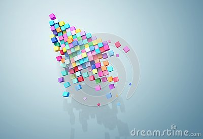 3D rendering crumbling cursor colorful pixel on wall. Patch inside for cubes isolated. Stock Photo