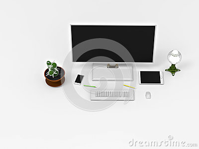 3D rendering. A Desk with a computer. Stock Photo