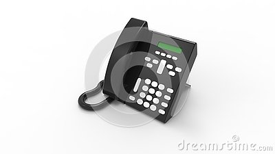 3d rendering of a desk telephone isolated in white background Stock Photo