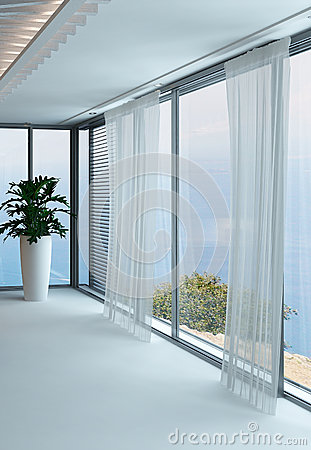 A 3D Rendering Of Empty White Living Room With Curtains Stock ...