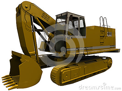 3d Rendering of an Excavator with claw retracted