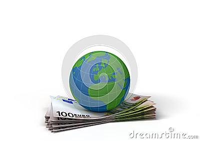 Globe on 100 euro bills