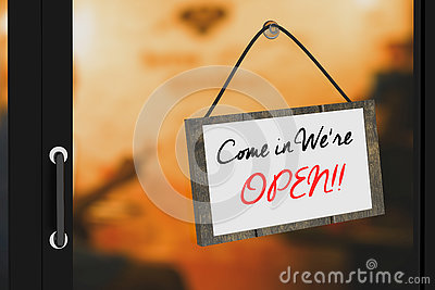 3D Rendering : illustration of Come in were open sign board hanging at the glass door against blurred light at cafe background Cartoon Illustration
