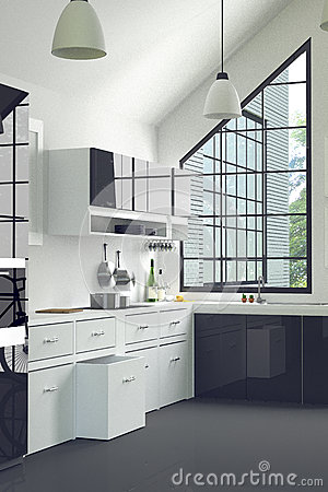 3D Rendering : illustration of modern interior kitchen room.kitchen part of house.black and white shelf.Mock up.shiny floor. Cartoon Illustration