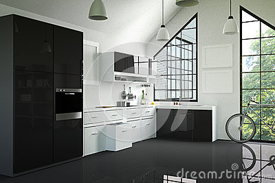 3D Rendering : illustration of modern interior kitchen room.kitchen part of house.black and white shelf.Mock up.shiny floor. Cartoon Illustration