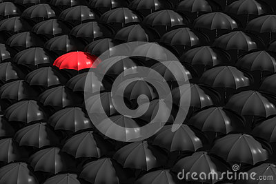 3D Rendering : illustration of Red umbrella stand out from the crowd of many black and white umbrellas. Business, leader concept Cartoon Illustration