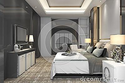 3d rendering luxury modern bedroom suite in hotel Stock Photo