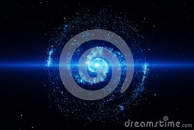 3d rendering, the magnificent spiral nebula. The universe background Cartoon Illustration