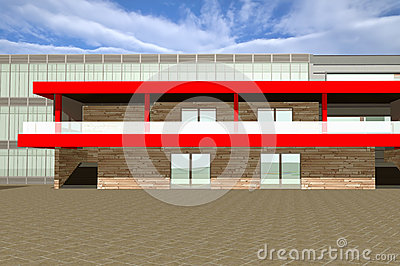 3D rendering of modern building exterior