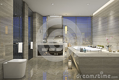3d rendering modern classic bathroom with luxury tile decor with nice nature view from window Stock Photo