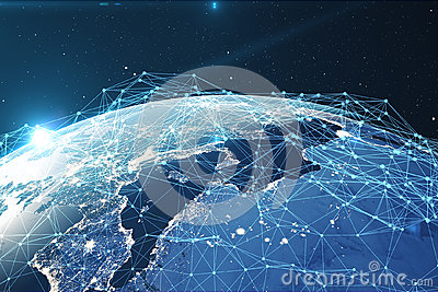 3D rendering Network and data exchange over planet earth in space. Connection lines Around Earth Globe. Global Stock Photo