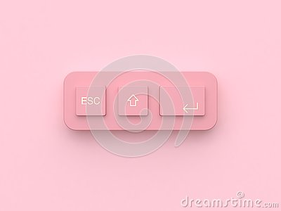 3d rendering pink minimal abstract technology equipment button keyboard Stock Photo