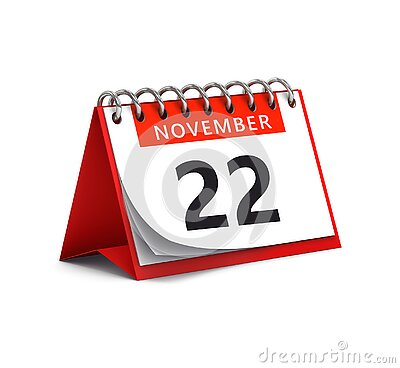 3D rendering of red desk paper november 22 date - calendar page Stock Photo
