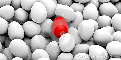 White Eggs And One Red Egg Background Royalty Free Stock Photos ...