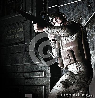 3d Soldier sentry